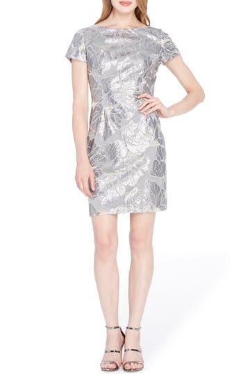 Petite Tahari Sequin Floral Sheath Dress, Grey