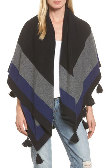 Women's Nordstrom Collection Tassel Trim Cashmere Wrap, Size One Size - Black