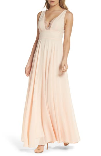Lulus Lace Trim Chiffon Maxi Dress, Pink