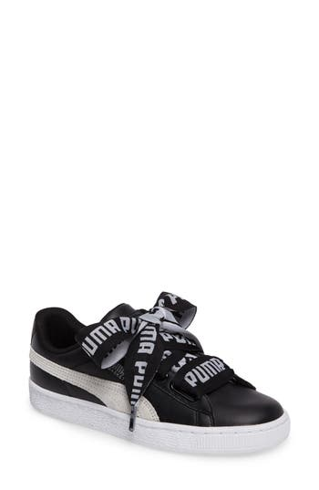 Puma Basket Heart Sneaker, Black