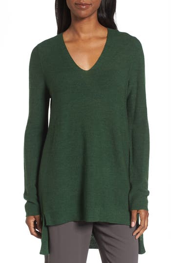 Eileen Fisher High/low Merino Wool Sweater, Green