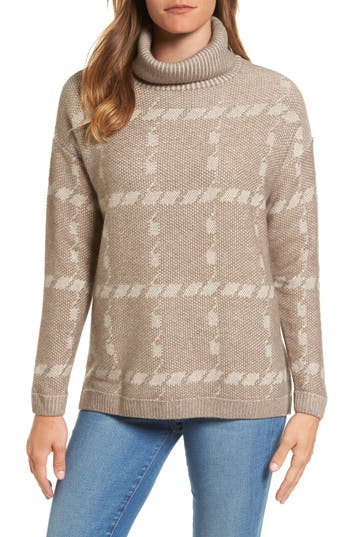 Barbour Glen Knit Merino Wool Blend Turtleneck Sweater, US / 8 UK - Beige