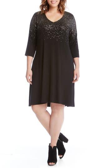 Plus Size Karen Kane Speckled Print A-Line Dress, Black