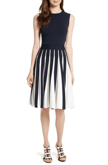 Ted Baker London Roberti Two-Tone Pleated Knit Dress, Blue