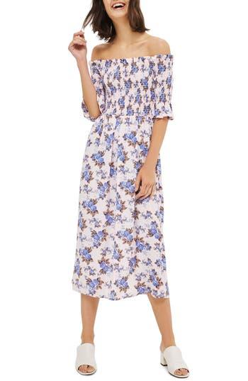 Topshop Floral Smocked Off The Shoulder Midi Dress, US (fits like 0) - Pink