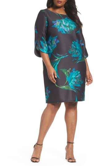 Plus Size Gabby Skye Floral Print Shft Dress, Blue