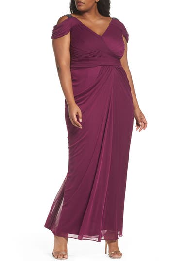 Plus Size Adrianna Papell Cold Shoulder Gown, Purple
