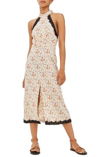 Topshop Ditsy Lace Halter Midi Dress, US (fits like 10-12) - Ivory