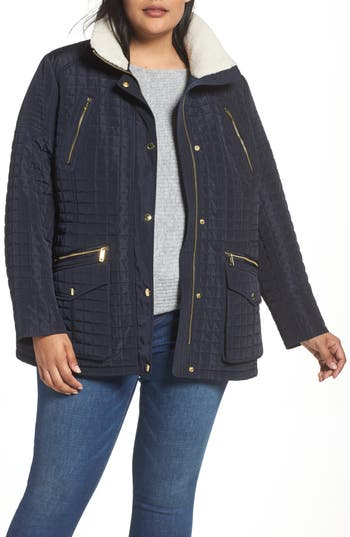 Plus Size Women's Michael Michael Kors Quilted Jacket With Faux Shearling Trim, Size 1X - Blue