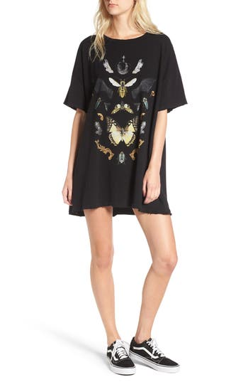 Women's Wildfox Shadowbox T-Shirt Dress, Size X-Small - Black