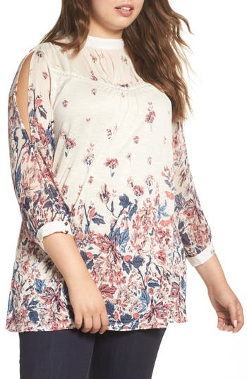 Plus Size Lucky Brand Floral Print Mixed Media Top, Ivory