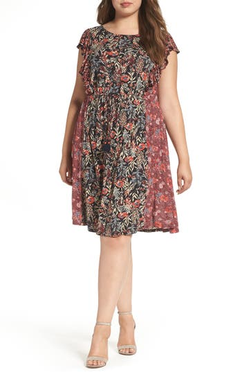 Plus Size Lucky Brand Mixed Floral Print Dress, Red