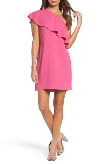 Charles Henry One-Shoulder Ruffle Dress, Pink
