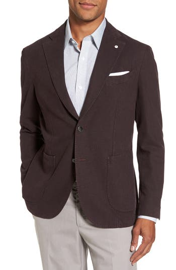 Men's L.b.m. 1911 Classic Fit Cotton Blend Blazer, Size 50 R EU - Burgundy