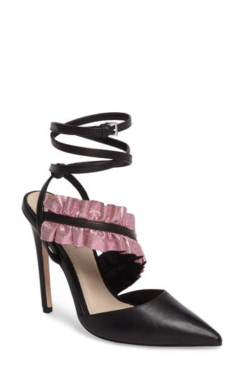 Topshop Grill Frill Ankle Strap Pump - Black