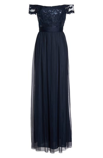 Amsale Ireland Embellished Off The Shoulder Gown, Blue