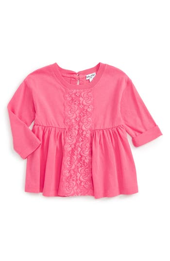 Infant Girl's Splendid Lace Panel Top, Size 3-6M - Pink