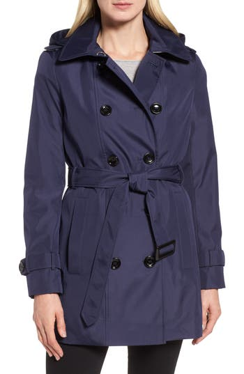 Women's Calvin Klein Double Breasted Trench Coat, Size X-Small - Blue