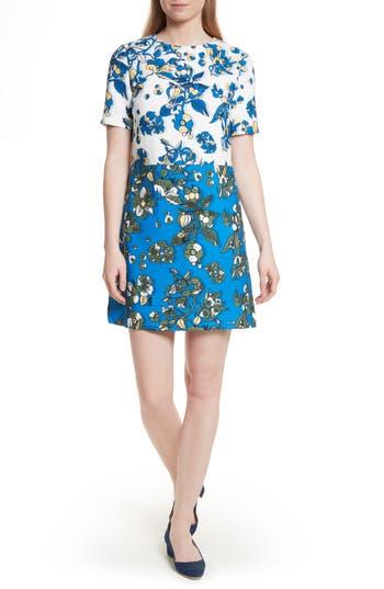 Ted Baker London Colorblock Floral Shift Dress, Blue