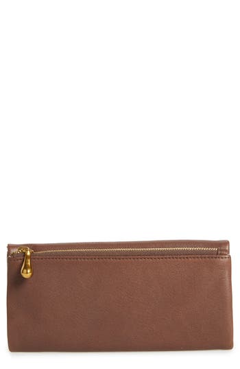 Hobo Eagle Calfskin Leather Trifold Wallet - Brown