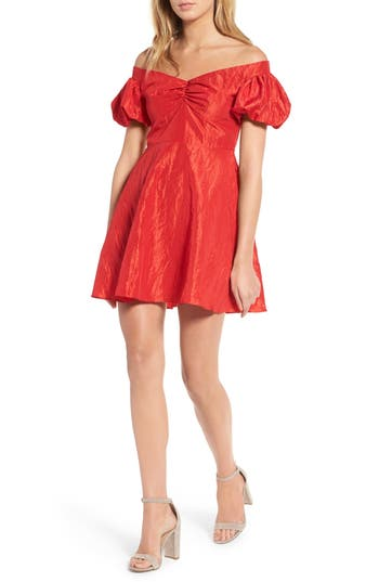 Women's Topshop Taffy Puff Sleeve Off The Shoulder Dress, Size 2 US (fits like 0) - Red