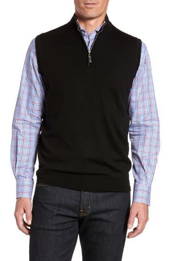 Peter Millar Crown Soft Merino Blend Quarter Zip Vest, Black