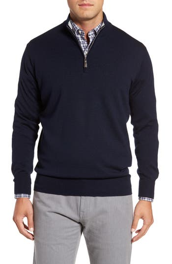 Peter Millar Crown Soft Merino Blend Quarter Zip Sweater, Blue