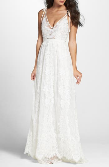 Heartloom Charlie Tie Shoulder Lace Gown, Ivory