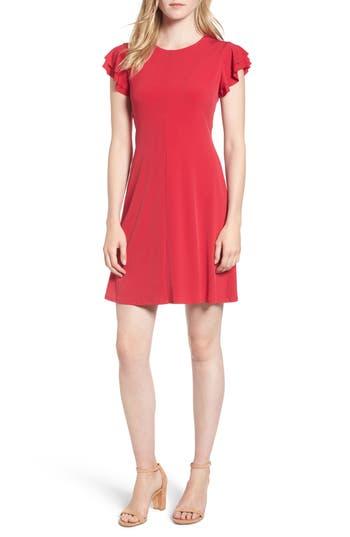 Velvet By Graham & Spencer Flutter Sleeve Stretch Jersey Dress, Red
