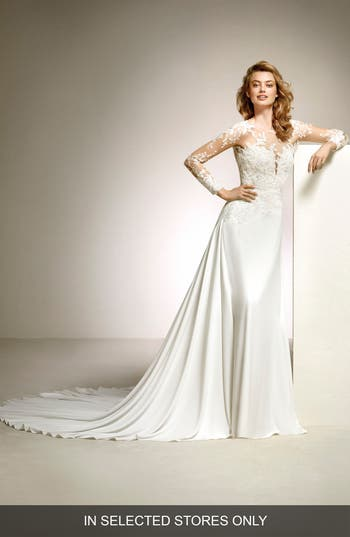 Pronovias Dacil Lace Illusion Yoke & Sleeve A-Line Gown, Size IN STORE ONLY - Ivory