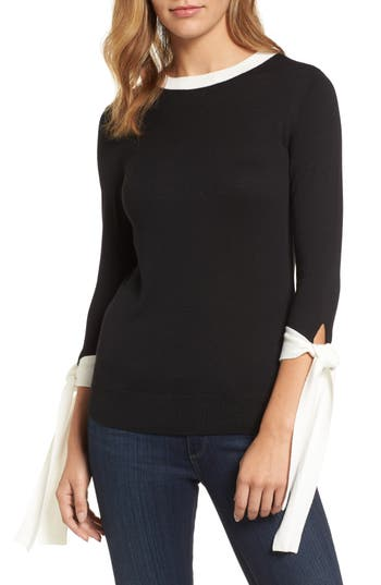 Halogen Tie Sleeve Crewneck Sweater