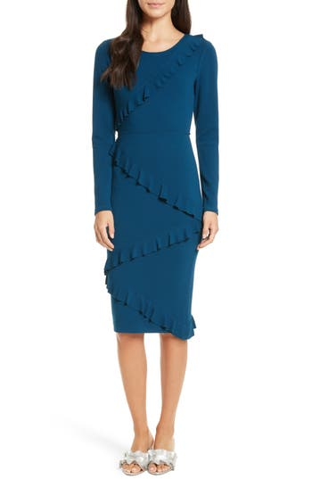Tracy Reese Frilled Sheath Dress, Blue/green