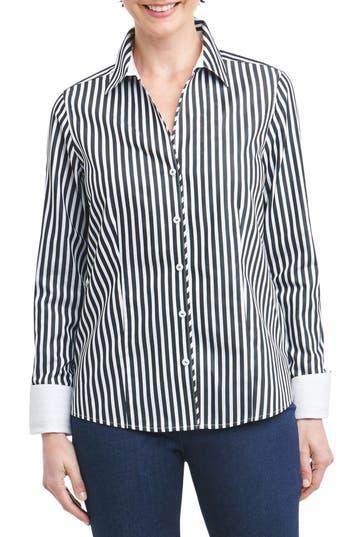 Foxcroft Lauren Sateen Stripe Shirt, Black