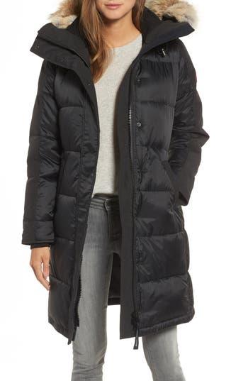 Canada Goose Rowley Down Parka With Genuine Fur Collar, Black