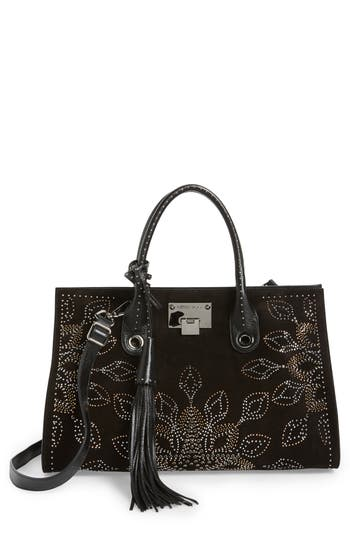 Jimmy Choo Riley Micro Studded Leather Tote - Black