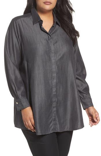 Plus Size Foxcroft Chambray Tunic, Grey