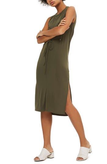 Topshop Eyelet Detail Drape Back Tunic Dress, US (fits like 0) - Green