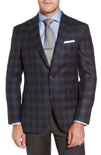 Big & Tall David Donahue Connor Classic Fit Check Wool Sport Coat, 0 R - Blue