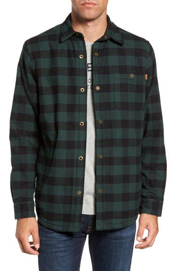 Men's Timberland Check Shirt Jacket With Faux Shearling Lining, Size Small - Green