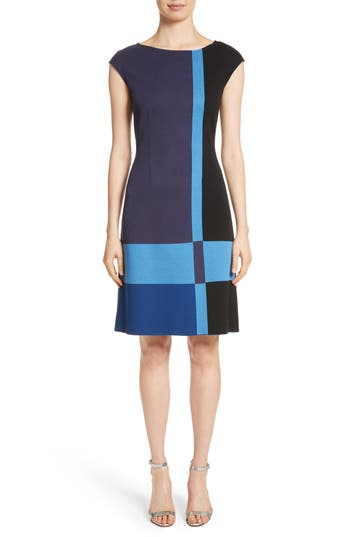 St. John Collection Colorblock Milano Knit Dress, Blue