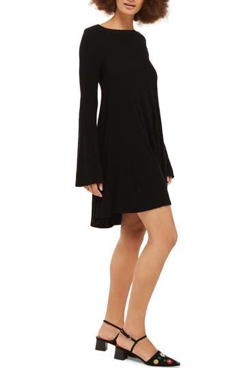 Topshop Scallop Bell Sleeve Dress, US (fits like 0) - Black