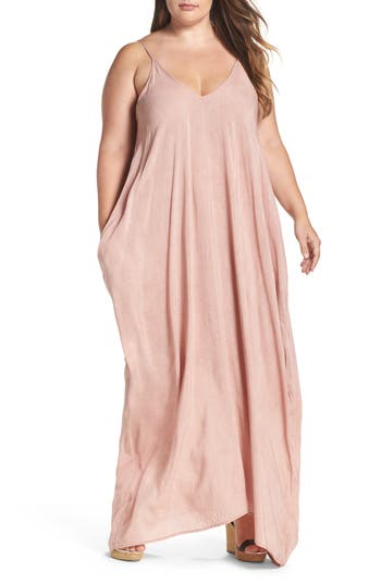 Plus Size Elan Cover-Up Maxi Dress, Pink