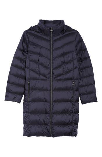 Plus Size Michael Michael Kors Packable Down Long Coat, Blue