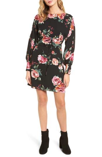Everly Floral Print Corset Dress, Black