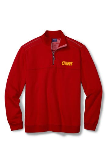 Men's Tommy Bahama Nfl Flipside Drive Quarter-Zip Pullover, Size Small - Red