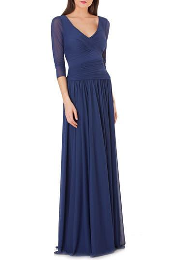 Js Collections Surplice Drop Waist Gown, Blue