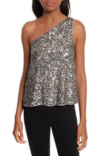 Women's Joie Hedra One-Shoulder Sequin Top, Size X-Small - Metallic