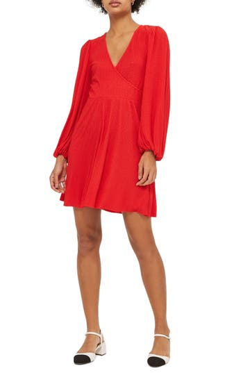 Women's Topshop Plisse Wrap Dress, Size 2 US (fits like 0) - Red