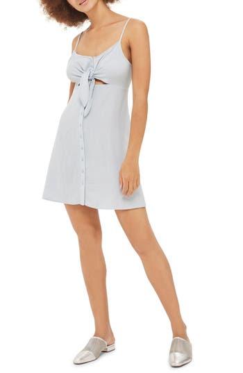 Petite Topshop Molly Knot Front Mini Slipdress, P US (fits like 0P) - Blue