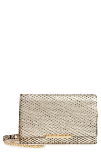 Women's Botkier Snake Embossed Leather Wallet On A Chain - Metallic